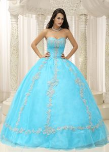 Aqua Blue Tulle and Taffeta Beaded Quinceanera Dress with Appliques
