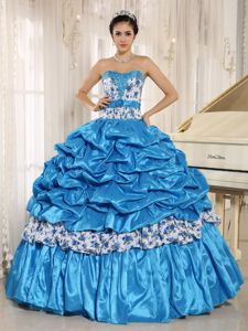 Trendy Beaded Sweetheart Pick-ups Quinceanera Party Dress in Teal