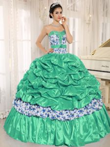 Green Sweetheart Print Beaded Dress for Quinceanera with Pick-ups