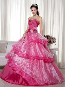 Beaded Ruches Gowns for Sweet 15 in Taffeta and Organza