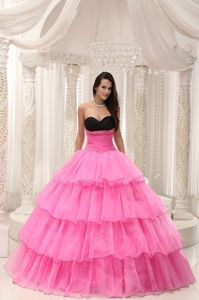 Multi-layer Organza Rose Pink Vestidos Para Quinceanera with Ruffles