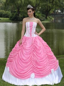 Pink and White Pick-ups Sweet 15 Dresses with Hand Made Flowers