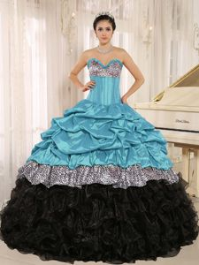 Leopard Printed Ruffles Quinceanera Dress Multi-color with Pick-ups