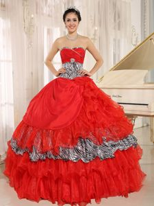 Coral Red Organza Dresses for Sweet 15 Sweetheart with Zebra Print