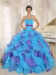 Discount Colorful Ruffles Quinces Dresses Sweetheart with Appliques