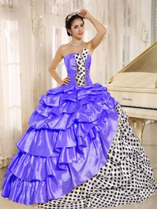 Multi-color Strapless Sweet Sixteen Dresses with Pattern and Pick-ups