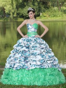 Colorful Taffeta and Organza Quince Dress with Pick-ups and Ruffles