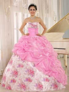Attractive Sweetheart Printing Taffeta Sweet 15 Dresses with Pick-ups
