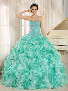 Apple Green Ruffles Vestidos Para Quinceanera with Beading Bodice