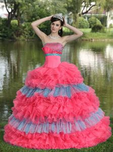 Sequins Beading Dress for Sweet 15 with Multi-color Ruffled Layers