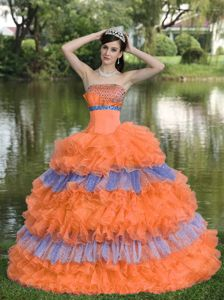 Enshrinement Multi-tiered Beading and Sequins Quinceanera Dress in Orange