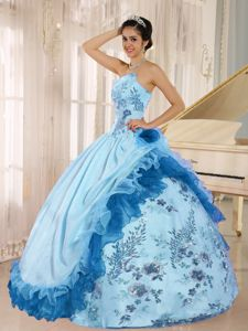 Recommended Strapless Appliques Beaded Quince Dress with Ruffles