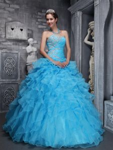 Latest Beading Sweetheart Sweet 15 Dresses Multi-layer in Aqua Blue