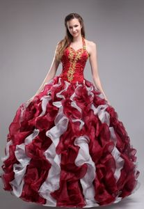 Organza Halter Top Appliques and Ruffles Dress for Quince Wine Red