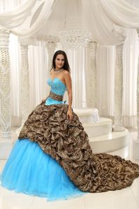 Leopard Printed Strapless Beading Dresses for a Quince in Aqua Blue