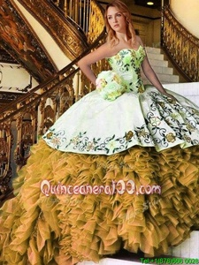 Flirting Yellow And White Sweetheart Lace Up Appliques and Embroidery Quinceanera Gowns Sleeveless