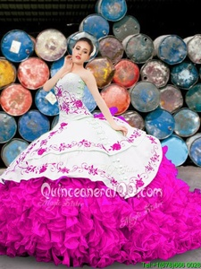 Pretty Summer and Fall and Winter Organza Sleeveless Floor Length Vestidos de Quinceanera andAppliques and Embroidery and Ruffles