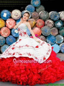 Custom Made Sleeveless Appliques and Embroidery and Ruffles Lace Up Ball Gown Prom Dress