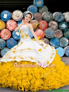 Great Yellow And White Organza Lace Up Quinceanera Dress Sleeveless Floor Length Appliques and Embroidery and Ruffles