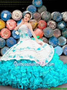 Fashion Blue And White Organza Lace Up Sweetheart Sleeveless Floor Length Quince Ball Gowns Appliques and Embroidery and Ruffles
