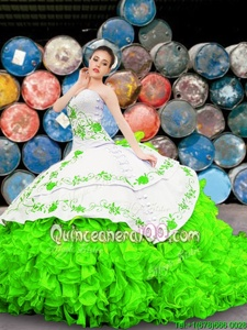 Flirting Spring Green Lace Up Sweetheart Appliques and Embroidery and Ruffles Sweet 16 Quinceanera Dress Organza Sleeveless