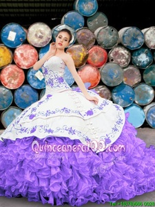 Best Appliques and Embroidery and Ruffles 15th Birthday Dress White And Purple Lace Up Sleeveless Floor Length