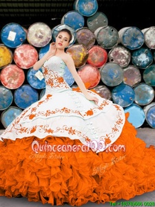Nice Sleeveless Organza Floor Length Lace Up Sweet 16 Quinceanera Dress inOrange forSpring and Summer and Fall and Winter withAppliques and Embroidery and Ruffles