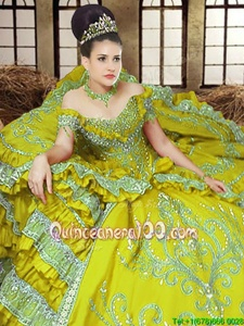 Exceptional Off the Shoulder Light Yellow Lace Up Quinceanera Dress Embroidery Sleeveless Floor Length