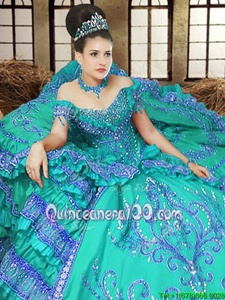 Flare Turquoise Lace Up Off The Shoulder Embroidery Quinceanera Gowns Satin Sleeveless