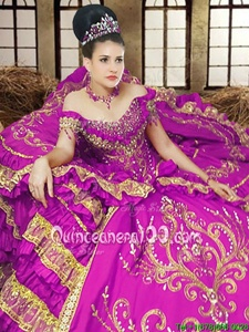 Noble Off the Shoulder Floor Length Ball Gowns Sleeveless Purple Sweet 16 Dress Lace Up
