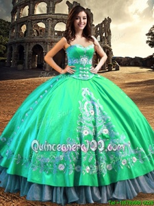 Gorgeous Off the Shoulder Turquoise Lace Up Sweet 16 Quinceanera Dress Lace and Embroidery Sleeveless Floor Length