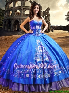 High Class One Shoulder Sleeveless Lace and Embroidery Lace Up Quinceanera Dress