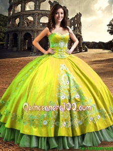 Luxury Satin One Shoulder Sleeveless Lace Up Lace and Embroidery Quince Ball Gowns inYellow