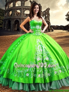Smart Off The Shoulder Sleeveless Satin Quince Ball Gowns Lace and Embroidery Lace Up