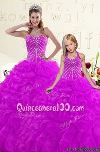 High Quality Purple Sleeveless Beading and Ruffles Floor Length Quinceanera Dresses