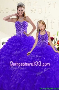 Spectacular Sleeveless Lace Up Floor Length Beading and Ruffles Quince Ball Gowns