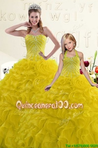 Dynamic Sweetheart Sleeveless Lace Up 15 Quinceanera Dress Yellow Organza