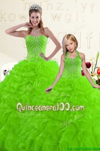 Sumptuous Spring Green Organza Lace Up Sweetheart Sleeveless Floor Length Quinceanera Dresses Beading and Ruffles