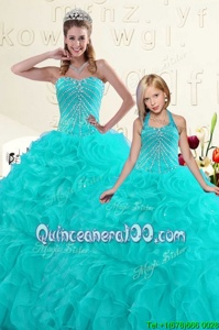 Elegant Aqua Blue Organza Lace Up Quinceanera Gowns Sleeveless Floor Length Beading and Ruffles
