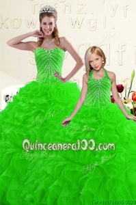 Designer Green Ball Gowns Organza Sweetheart Sleeveless Beading and Ruffles Floor Length Lace Up Sweet 16 Quinceanera Dress