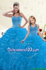 New Style Blue Organza Lace Up Sweetheart Sleeveless Floor Length Quinceanera Dress Beading and Ruffles