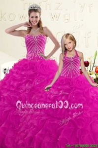 Best Selling Fuchsia Sleeveless Organza Lace Up 15 Quinceanera Dress forMilitary Ball and Sweet 16 and Quinceanera