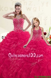 Sweetheart Sleeveless 15 Quinceanera Dress Floor Length Beading and Ruffles Hot Pink Organza