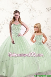 On Sale Apple Green Sweetheart Lace Up Beading Quinceanera Gown Sleeveless