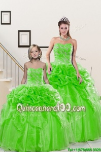 Pick Ups Spring Green Sleeveless Organza Lace Up Sweet 16 Dresses forMilitary Ball and Sweet 16 and Quinceanera
