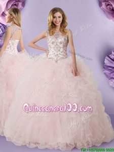 Flirting Tulle Scoop Sleeveless Lace Up Lace Ball Gown Prom Dress inBaby Pink