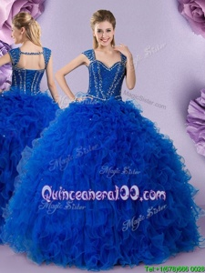 Enchanting Straps Straps Royal Blue Cap Sleeves Beading and Ruffles Floor Length Quinceanera Gown