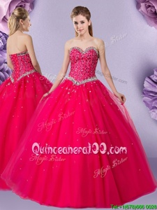Floor Length Coral Red Sweet 16 Dress Tulle Sleeveless Spring and Summer and Fall and Winter Beading