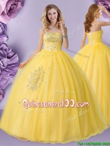 Extravagant Spring and Summer and Fall and Winter Tulle Sleeveless Floor Length Sweet 16 Quinceanera Dress andBeading