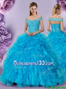 Discount Baby Blue Organza Lace Up Off The Shoulder Sleeveless Floor Length Sweet 16 Dress Beading and Lace and Ruffles